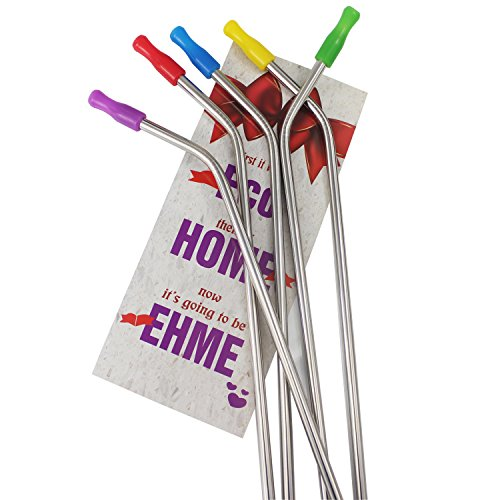 EHME Soft Stainless Steel Drinking Straws Set of 5 ,Fit 30 oz Tumblers Cups,Cleaning Brushes Included