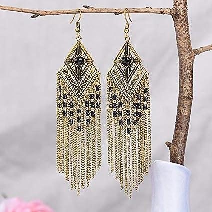 fb0e253a6 Amazon.com: YIFEI FANCYDELI Tassel Dangle Drop Bohemian Earrings ...