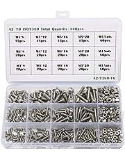 Queta Schroevenmoeren, 440 stuks, M3, M4, M5, roestvrij staal, 304, halfronde kop, zeskantschroef combinatie