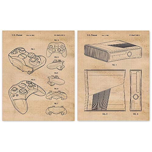 Vintage XBox Game Devices Patent Art Poster Prints, Set of 2 (8×10) Unframed Photos, Great Wall Art Decor Gifts Under 15 for Home, Office, Garage, Man Cave, Studio, Shop, Student, Teacher, Gaming Fan