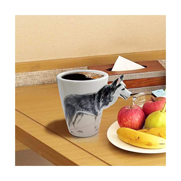 WEY&FLY 3D Coffee Dog Mug, Animals Personalized Tea Cup, Creative Hand Painted 3D Dog Mug, Gift for Lovers Kids Friends (Siberian Husky) 4