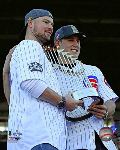 Jon Lester Anthony Rizzo Chicago Cubs 2016 World Series Trophy Photo