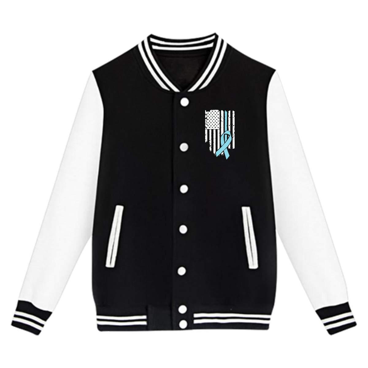 NJKM5MJ Unisex Youth Baseball Uniform Jacket USA Flag Prostate Cancer Awareness-1 Coat Sweatshirt Outwear