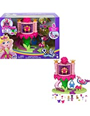 Polly Pocket Rainbow Funland Fairy Flight Ride Playset, Polly & Friend Dolls, 15 Accessories, Dispenser Feature for Surprises, Great Gift for Ages 4 & Up