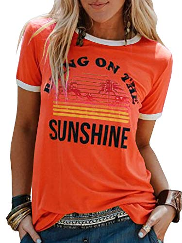 Chuanqi Women Bring On The Sunshine Printed T-Shirt Causal Loose Christian Graphic Tees Short Sleeve Summer Blouses Tops Orange Red