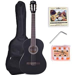 adm 39 inch student beginner guitar black matte nylon string classical guitar. Black Bedroom Furniture Sets. Home Design Ideas