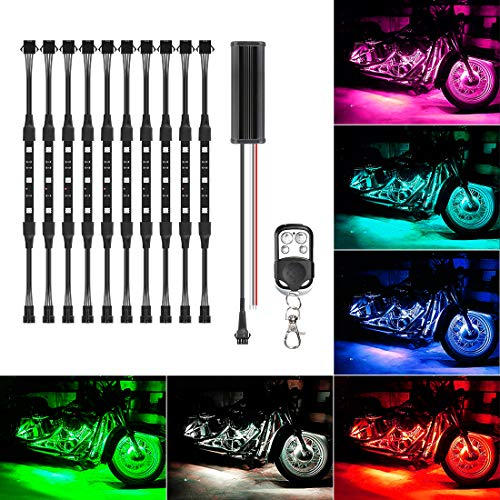 (10Pcs Led Light Kits Multi-Color Wireless Remote Control Motorcycle Atmosphere Lamp RGB Flexible Strips Ground Effect Light for Motorcycle )