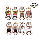 Pack of 4 No Tie Elastic Shoelaces For Adults, Konsait Lazy No-Tie Silicone Elastic Shoe Laces Running Shoelaces Athletic Shoe laces