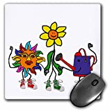 3dRose All Smiles Art Sports and Hobbies - Cute Funny Watering Can, Sun, and Flower Gardening Friends - MousePad (mp_263847_1)