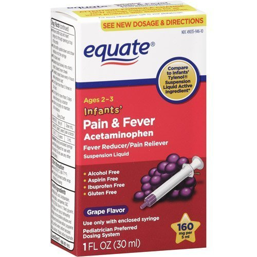 Equate - Infants' Pain & Fever Acetaminophen 160 mg, Suspension Liquid, Grape Flavor 1 oz by ()