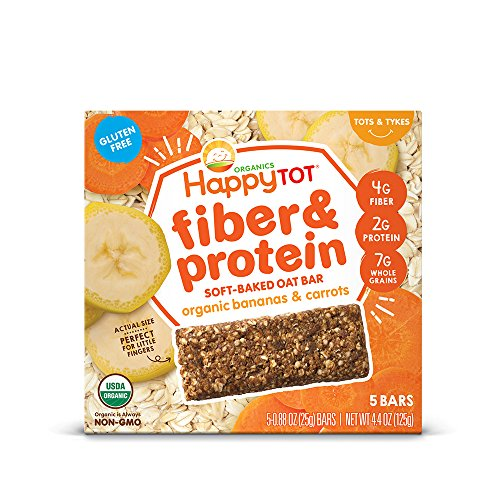 Happy Tot Fiber & Protein Soft-Baked Oat Organic Toddler Snack Banana & Carrot, 4.4 Ounce Bars (Box of 5) Chewy Oat Bars with Organic Fruits Veggies Whole Grains, Gluten Free Kosher Non-GMO ()