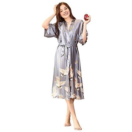 MEMIND Seda Marry Pijamas Mujer Sección Larga Dama de Honor Novia roja Vestido de la mañana