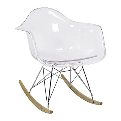 Merveilleux Charles Eames Style RAR Rocking Chair, Clear With Arms