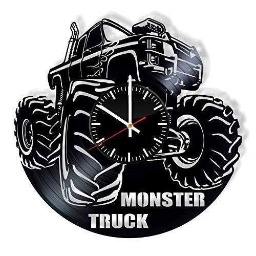 Monster Truck Vinyl Clock Art Handmade Gift Idea for Any Occasion, Original Home Room Kitchen Decor, Vintage Modern Style Theme