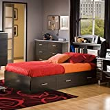South Shore Furniture Cosmos Collection Twin Mates Bed Box Only, Black Onyx and Charcoal