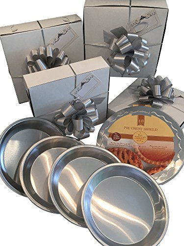 Pie Plates with Pie Crust Shield, Gift Boxes, Silver Pull Bows and Gift Tags included in this BAKING BUNDLE SET