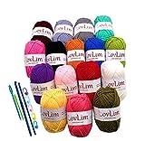 LovLim Crochet Yarn kit, 16 Soft Cotton Yarn Skeins for Crochet and Knitting, 1200 Yards Craft DK Yarn, Free Crochet/Amigurumi Patterns, Perfect Starter Kit: more info