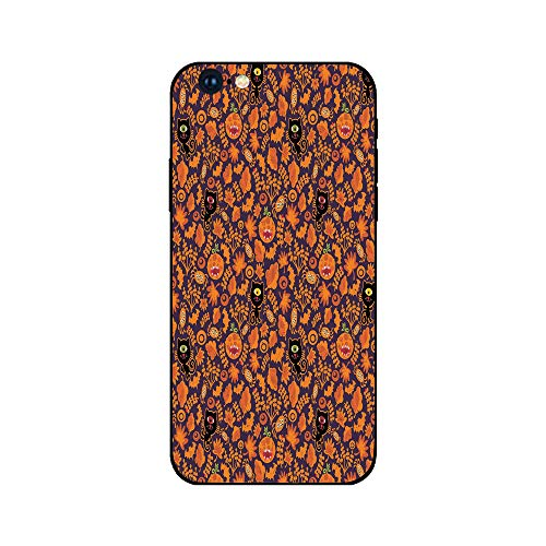 Phone Case Compatible with iphone6 iphone6s mobile phone covers phone shell Brandnew Tempered Glass Backplane,Vintage Halloween,Halloween Themed Elements on a Purple Background Scary Mosters Decorativ ()