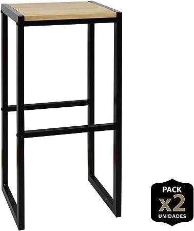 DS Dropshipping Pack 2 Taburetes iCub Asiento de Madera Maciza y Estructura de Acero Lacado Negro de Estilo Industrial Vintage: Amazon.es: Hogar