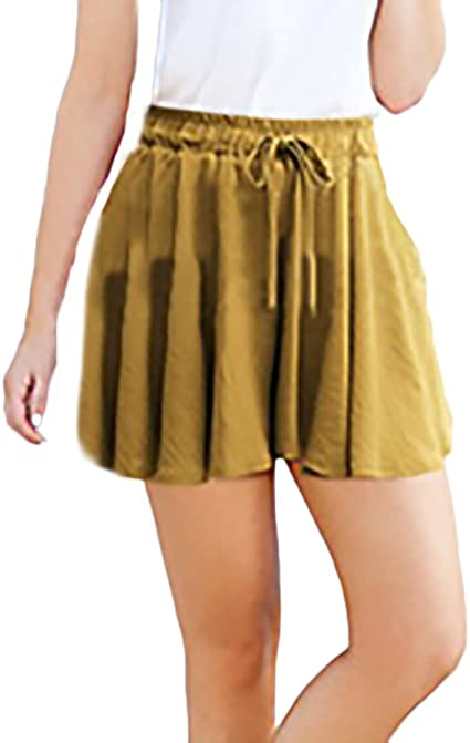 Shorts Mujer Verano Cintura Alta Anchos Pantalones Cortos Ninas Ropa Tallas Grandes Color Solido Casual Hipster Plisado Una Linea Pantalon Corto Amazon Es Ropa Y Accesorios