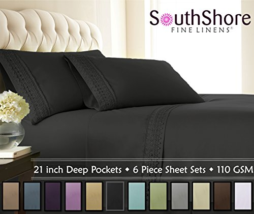 Southshore Fine Linens 4-Piece 21 Inch Deep Pocket Sheet Set with Beautiful Lace (King, Black)