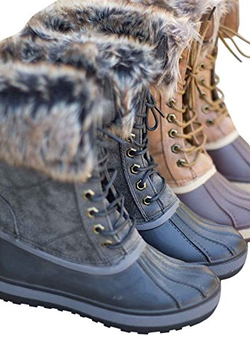 Syktkmx Womens Duck Rain Boots Winter Ankle Snow Waterproof Lace Up Mid Calf Combat Boots