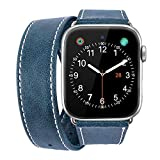 iBazal 38mm 40mm Apple Watch Band, [Dual Loop] Genuine Leather Band Replacement Watch Band for 38mm 40mm Apple Watch Series 4 & Series 3 & Series 2 & Series 1 - Vintage Blue 38mm 40mm
