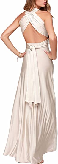TALLA L. EMMA Mujeres Falda Larga de Cóctel Vestido de Noche Dama de Honor Elegante sin Respaldo Beige