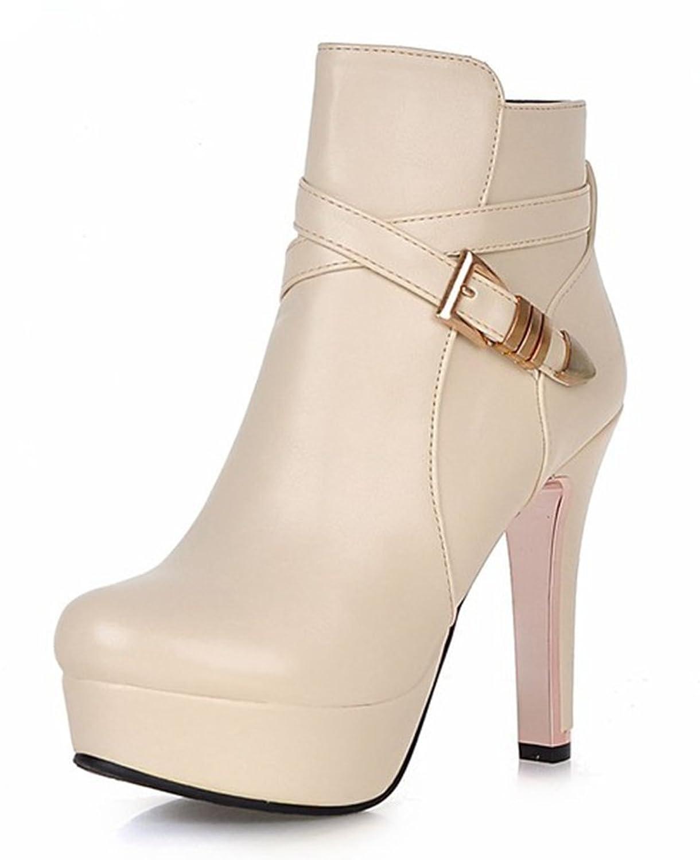 3839e0579877 durable service Aisun Women s Fashion Round Toe Buckle Strap Side Zipper  Platform Booties Dress Chunky High