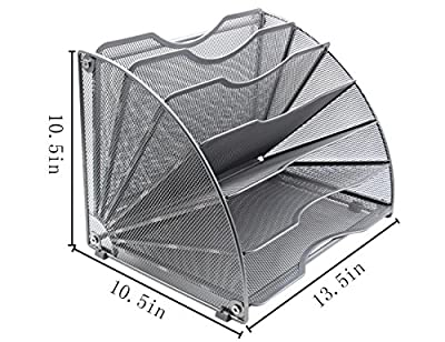 EasyPAG Fan-Shaped Desk File Organizer 6 Compartment Magazine Holder,Letter Size