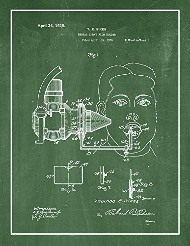 Dental X-ray Film Holder Patent Print Green Chalkboard with Border (16