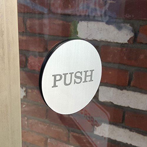 Amazon Push Pull Round Door Sign Brushed Silver Office