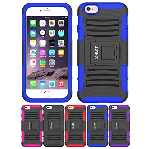 Price comparison product image iPhone 6S Stand Case,  iPhone 6 Stand Case,  HLCT Rugged Shock Proof Dual-Layer Case with Built-in Kickstand for iPhone 6s / 6 (Blue)