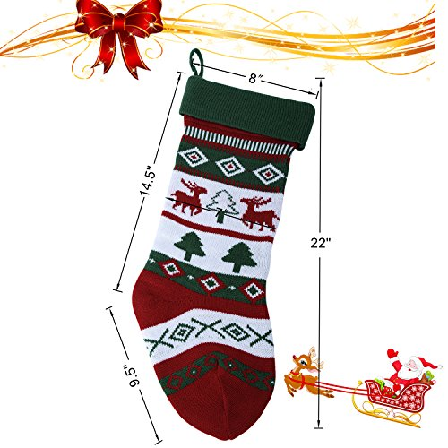 Knit Christmas Stockings for Family 22'' x 7'' Sets of 2 – Red/White/Green Snowflake knitted Hanging Bags - Holiday Gift - Decor,Decorations Christmas Tree,Mantel by Dragon Squama (Image #2)
