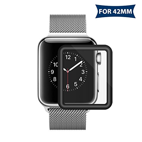 Bestfy 3D Full Coverage Screen Protector for 42mm Apple Watch, Tempered Glass, Anti-Scratch, Bubble-Free for iWatch 42mm with Series 1/ 2/ 3