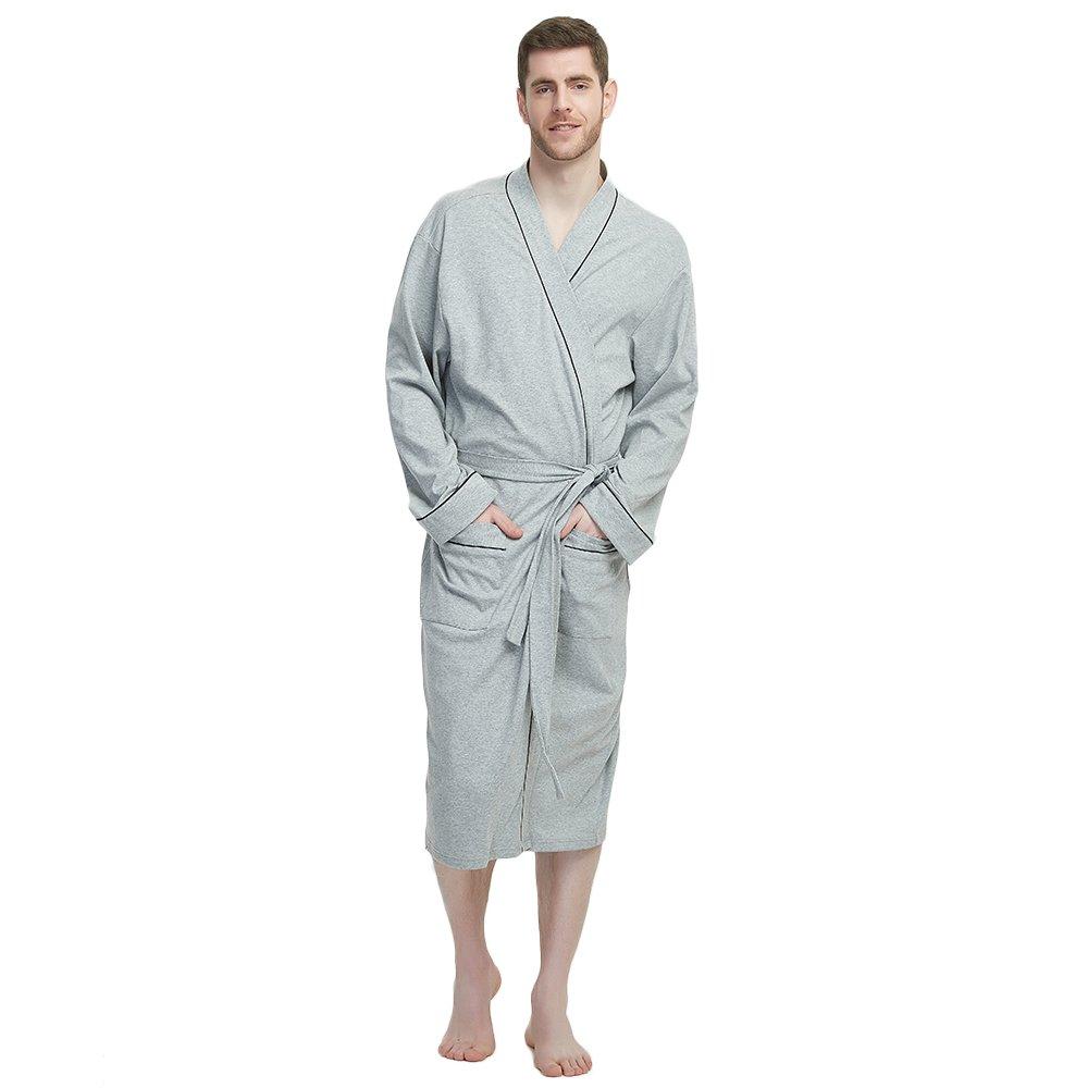 M&M Mymoon Men's Kimono Robe Long Comfy Bathrobe Cotton Loungewear Spa Cloth Robe (Grey Mel, L/XL)