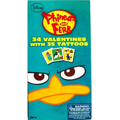 Phineas and Ferb Valentines Day Cards with Tattoos 34ct Sales