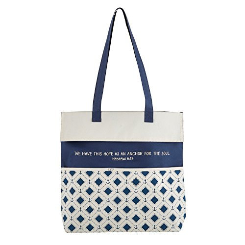 Hope as Anchor for Soul Blue White 13.5 x 14 Inch Heavy Canvas Inspirational Tote Bag