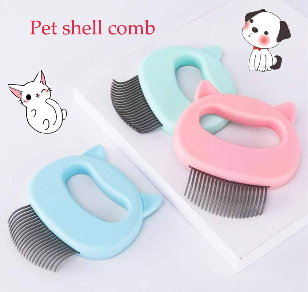 GJQGYY 3PCS Portable Pets Shell Comb for Dogs and Cats Pet Grooming Brush Massage Comb Pet Hair Comb Pet Grooming Brush Deshedding Tool (Random Color) by GJQGYY