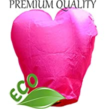 Just Artifacts Premium Quality ECO Wire-Free Flying Chinese Sky Lanterns (Set of 20, Heart, Pink) - Topnotch Flight, 100% Biodegradable, Environmentally Friendly Lanterns!
