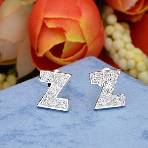 Ever Faith Boucle d'Oreille Dormeuse Percé Argent 925/1000 Zircone Initial Alphabet Lettre