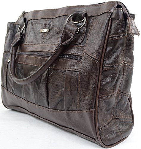 Damenhandtasche/Umhängetasche aus Leder mit abnehmbarem Gurt Braun 556vmIc