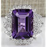 Sumanee Women Fashion 925 Sterling Silver Amethyst Ring Wedding Bridal Jewelry Size 6-10 (10)