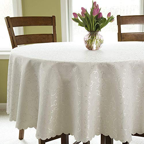 Round Cover Table Ivory (Turkish Round Tablecloth Polyester Table Cover - Stain Resistant Wrinkle free Non-Iron Dust-proof Oblong Square Round – Table cover for Wedding Christmas New Year eve Gift Idea (IVORY, Round 84
