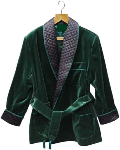 Mens Velvet Smoking Quilted Long Dinner Coat,Men/'s Velvet Long Smoking Coat