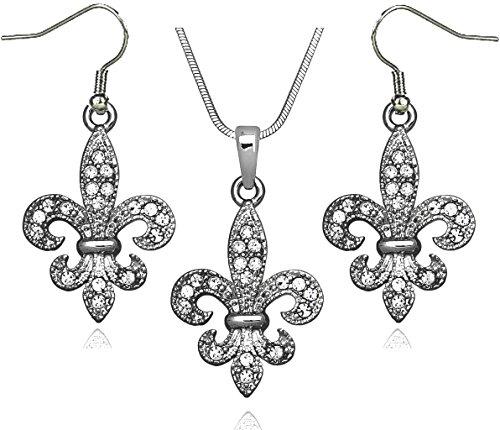 DianaL Boutique Silver Tone Fleur De Lis Pendant Necklace and Earrings Set 18 Inches Snake Chain