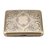 Retro Metal Cigarette Box Case, 20 pcs Cigarettes Tobacco, Durable, Double Sided Spring Clip, Special Design, Storage of Cigarettes, Pocket Size, Bronze Material, 7 Styles(King Size)(#4)