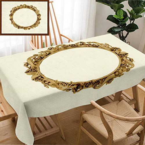 "Skocici Unique Custom Design Cotton and Linen Blend Tablecloth Golden Vintage Frame Antique Mirror Design Retro Element Physical Realistic ReflectionTablecovers for Rectangle Tables, 60"" x 40"""