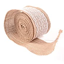 G2PLAY Natural Burlap Band Jute Trim Craft Ribbon Roll with White Lace, 5 Meters
