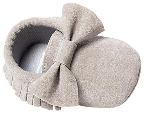 Baby Infant textura mate suave soled borla Bowknots Zapatos de Cuna gris Talla:Tamaño de la etiqueta 16=12-18 Meses: 12.98 cm